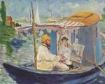 Claude Monet y su esposa sobre la barca de su atelier, Edouard Manet