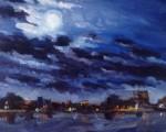Luna llena sobre el puerto de Portland